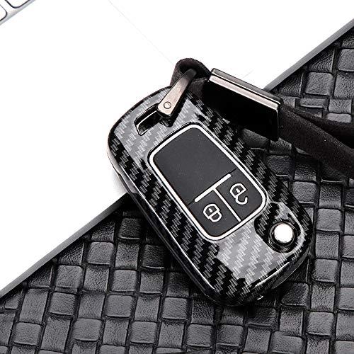 ontto Klapp Autoschlüssel Hülle Cover für Opel Astra J Corsa E GT Mokka Meriva Insignia Chevrolet Schlüsselhülle Schlüsselanhänger Zinklegierung Schlüssel Etui 2 Taste Fernbedienung-Kohlefaser schwarz