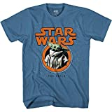 Star Wars The Mandalorian The Child Baby Yoda Distressed Logo Adult T-Shirt Licensed (Blue, X-Large)