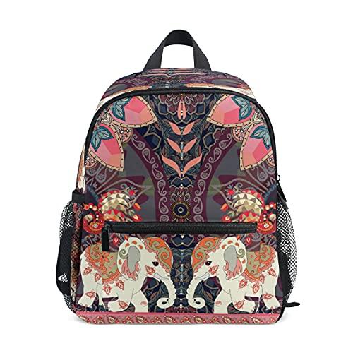 Mochila para niños con diseño de elefante indio, diseño de pavo real, con flores étnicas y flores, para guardería, guardería, niños, mochila de viaje, senderismo, mochila