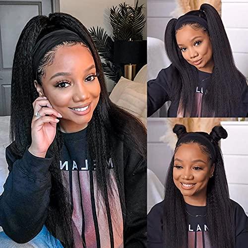 Kinky Straight Headband Wig Human Hair Glueless Headband Wigs for Black Women None Lace Front Human Hair Wigs 150% Density 16inch