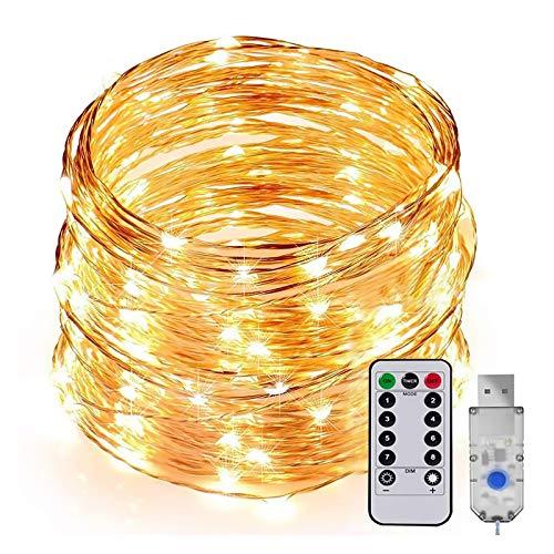 Guirnalda de luces LED, 20 m, 200 ledes, impermeable, IPX5, USB, 8 modos, con mando a distancia, temporizador, resistente al agua, para Navidad, interior y exterior, color blanco cálido