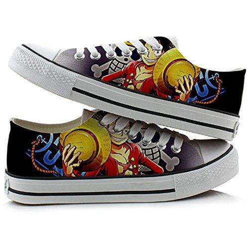 One Piece Anime Cosplay Schuhe Leinwand Schuhe Sneakers Bunten Low Cut 4, Damen, Picture 3, 4.5 B(M) US Female