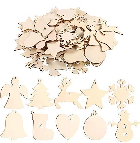 EKKONG 100 Pieces Wooden Christmas Tree Decoration Set, Christmas Hanging Ornaments, Christmas Pendant, Hanging Tree Ornaments,Ornaments for Christmas, DIY Crafts (100 pcs)
