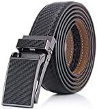 Marino Avenue Men's Genuine Leather Ratchet Dress Belt with Linxx Buckle - Gift Box - Twill weave - Black - Adjustable from 28' to 44' Waist