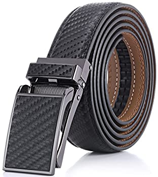 Marino Avenue Men's Genuine Leather Ratchet Dress Belt with Linxx Buckle - Gift Box - Twill weave - Black - Adjustable from 28  to 44  Waist