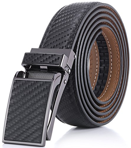 """Marino Avenue Men's Genuine Leather Ratchet Dress Belt with Linxx Buckle - Gift Box - Twill weave - Black - Adjustable from 28"""" to 44"""" Waist"""