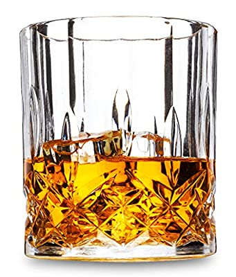 LANFULA Old Fashioned Whiskey Glasses, Set of 4 Premium Crystal Cocktail Tumbler for Bourbon Scotch Whisky Cognac