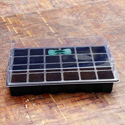 Conveniente 24 Las células Invernadero plástico del agujero de semillero bandeja de arranque con el aire de ventilación crecientes caso cuadro Siembra germinación bandeja de herramientas de jardín dec