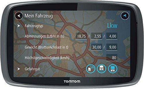 TomTom Trucker 500 LKW-Navigationsgerät (13 cm (5 Zoll) kapazitives Touch Display, Sprachsteuerung, Click&Go-Halterung, Traffic/Lifetime LKW-Karten) schwarz