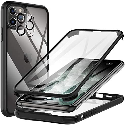 KKM Designed for iPhone 11 Pro Max Case 6.5-inch, with Camera Lens Protector, Shockproof Bumper, Anti-Scratch, Non-Yellowing, 360 Full Body Coverage Protective Tempered Glass Phone Cover – Black