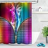 JIAXIN Bunter Musik Neon Reißverschluss Badezimmer dekorative Duschvorhang wasserdicht 12 Haken