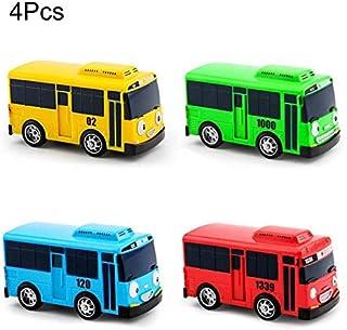 4pcs/Set Tayo The Little Bus Korean Anime Taxi Model Mini Plastic Pull Back Blue