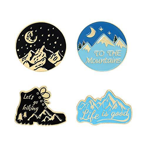 4 Stück Emaille Revers Broschen Pin Set Outdoor Wanderschuhe Brosche für Rucksäcke Kleidung Taschen Jacken Hut Schmuck DIY Zubehör