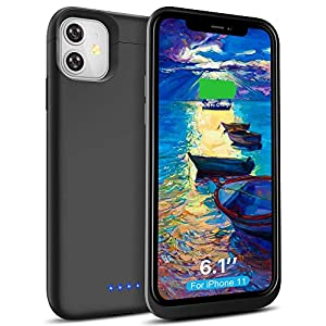 Battery Case For Iphone 11 6200mah Wavypo Extended Portable Protective Charger Case Rechargeable Power Battery Pack Charging Case Compatible With Iphone 1161 Inch Black