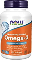 NOW Supplements, Omega-3 180 EPA / 120 DHA, Molecularly Distilled, Cardiovascular Support*, 100 Softgels
