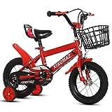 Mediawave Store - Bicicletta per Bambini Magic Taglia 12 con Cestino età 3-5 Anni con rotelle Che Si Montano e smontano, Sella Regolabile, Freni a Tamburo Posteriori (Rossa)