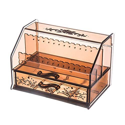 Akin Acryl-Organizer mit Deckel, Lagen-Aufbewahrungsbox, 8 Fächer, für Schmuck und Schönheit, Kosmetik, Schreibtisch, Schublade, Ohrringe, Sortierbox, 15,5 x 9,5 x 10 cm