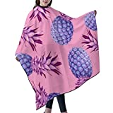 KIMIOE Capa Peluqueria Adulto Capa de Peluquería Impermeable Barber cloak,Violet pineapples Salon Hair Cutting Gown Barber Cape Cloth