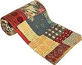 Indische handgemachte Sari-Kantha-Stepdecke Block-Druck Florale Patchwork-Tagesdecke 152
