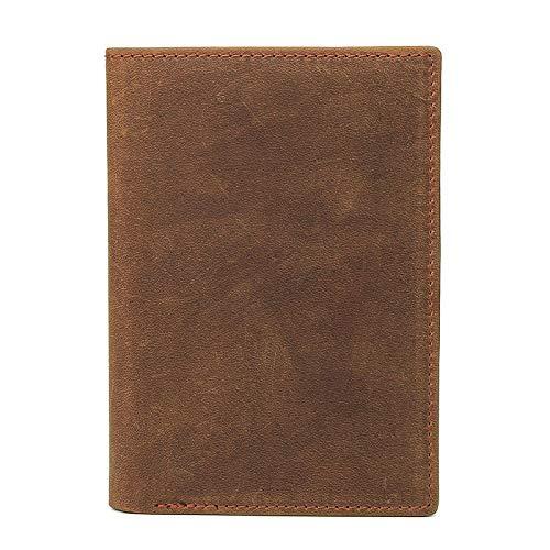 WWFCI Lederen portemonnee voor kaarten, retro paspoort, lange hoes, voor heren, zakenreis, paspoort, van rundleer, Blanco Y Gris (Zwart) - 6979012386133