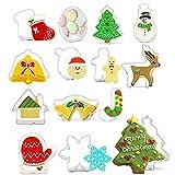 Set di 14 formine per biscotti di fondente, in acciaio inox, per bambini, Babbo Natale, bastoncini di caramelle, fiocchi di neve, renna