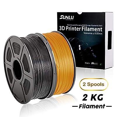 PLA+ Filament 3D Printer Filament,2kg Spool (4.4 lbs) 1.75mm,Dimensional Accuracy +/- 0.02 mm, 2 Packs (Black + Gold) by SUNLU