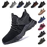 Zapatos De Seguridad para Hombre con Puntera De Acero Mujer Calzado De Trabajo Zapatos De Deportivos Transpirables Construcción Botas Trekking Negro Azul Gris Verde Rosa 36-48 EU Negro 46