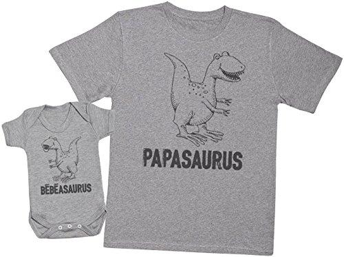 Zarlivia Clothing Bébéasaurus & Papasaurus - Ensemble Père Bébé Cadeau - Gris - XL & 6-12 Mois