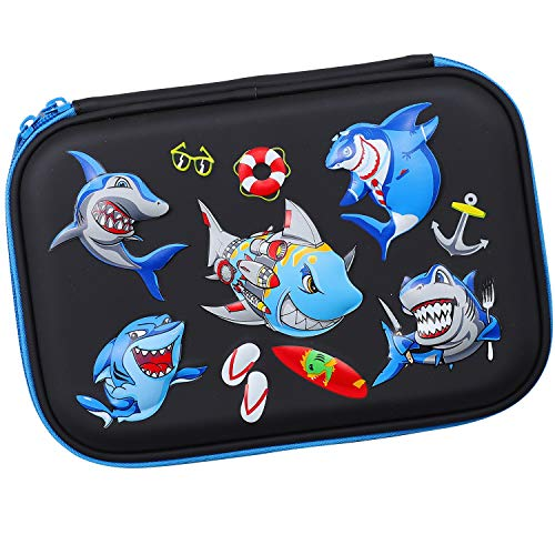 Angry Shark Boys Cool Pencil Case - Large Capacity Hardtop Pencil Box with Compartments - Colored Pencil Holder School Supply Organizer for Kids Girls Toddlers Children (Black)