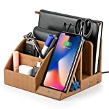 EasyAcc - Caricatore wireless con organizer da scrivania, porta chiavi, con supporto, organizer per orologi, regalo per marito, moglie, anniversario, compatibile con tutti i dispositivi Qi