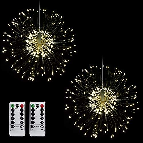 Lichterkette Feuerwerk, MOPOIN 120 LEDs Kupferdraht lichterkette Batteriebetrieben Hängend Starburst Lichter Wasserdicht mit fernbedienung 8 Modi für Innen Außen Weihnachten Hochzeit Deko(Warmweiß)