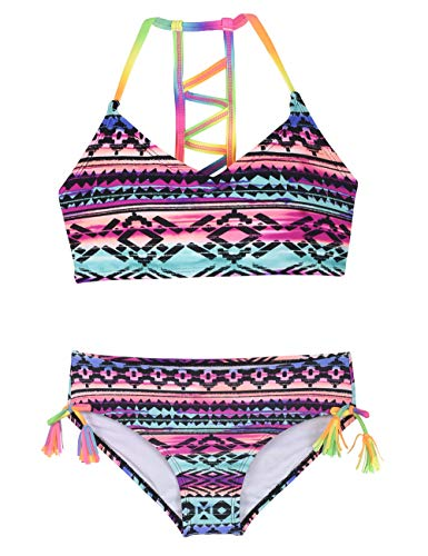 Firpearl Girls Swimsuits Halter Bikini Two Piece Bathing Suit Kids Bikini L