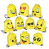 FORMIZON Set di 10 Emoji Borse Sacca, Coulisse Sportiva Sacche con Coulisse Sacchetto del PE per Bambini per Festa Compleanno Bambini Regalino, Natale