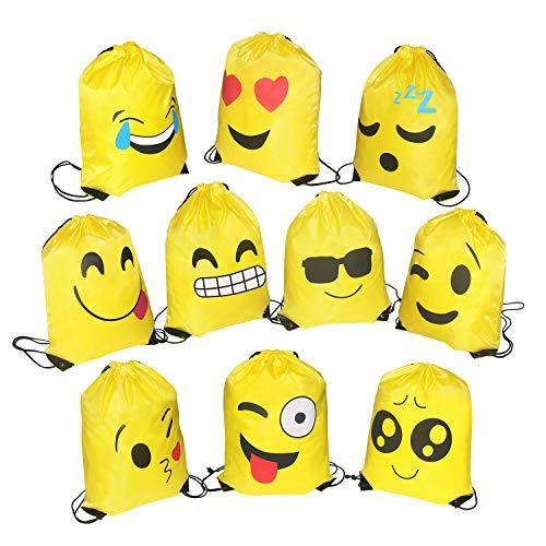 FORMIZON 10-Delige Rugzak voor Sporttassen voor Kinderen, Weggeven voor Kinderverjaardagsfeestje Zak voor Cadeautasje Feestartikelen voor Cadeauzakjes Smiley Verjaardagsfeestjezakjes