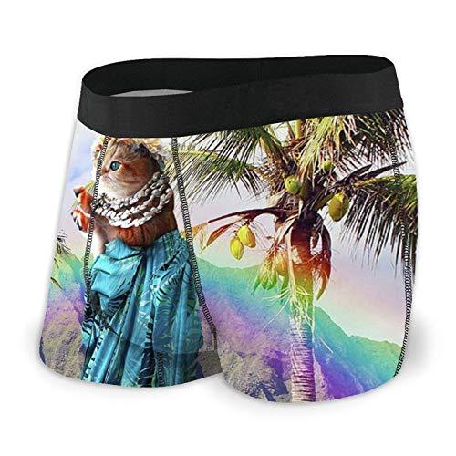ZORIN Herren-Boxershorts, niedliches Hawaii-Katzen-Motiv, Burger-Unterwäsche, Regenbogenfarben Gr. L, Schwarz