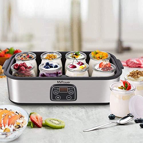 MVPower Joghurtbereiter mit Timer bis 48 Stunden, 8X180ml Glasbehälter, LED Display JoghurtMaker, automatische Abschaltung, Joghurtmaschine 25W, Edelstahl