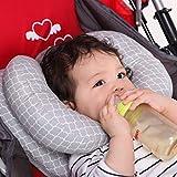 vocheer 2 in 1 Baby Reisekissen, Baby Kopfstütze Kissen Säugling Kinderwagen Kissen mit Banane Nackenkissen für Neugeborene 3 Monate bis 1 Jahr, grau