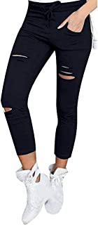 Hokny TD Women Sexy Skinny Ripped Holes Slim Fit Distressed Jeans Pants Black X-Large