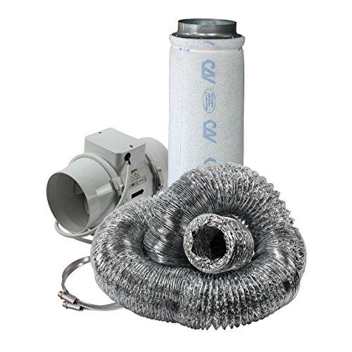 Cultivalley 2 Stufen Klima-Set Standard - 220/280m³ Rohrlüfter & 300m³ Aktivkohle-Filter 125mm Ø - Abluftset für Growzelt Homebox Darkroom Hydroshoot Grow-Room