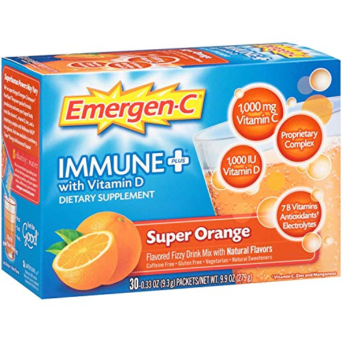 Emergen C Immune Plus Super Orange Fizzy Drink Mix, 0.3 Ounce -- 30 per case.