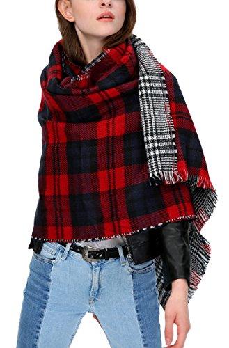 Urban CoCo Women's Tartan Plaid Blanket Scarf Winter Checked Wrap Shawl (Series 2 navy)