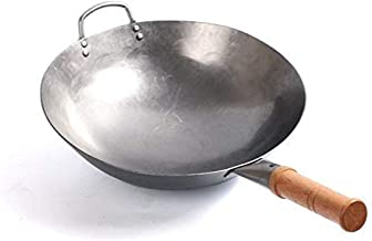 Kitchen Cookware Wok, Wok Traditional Carbon Steel Wok - Professional Quality - Round Bottom,36cm,easy to clean (Color : 3...