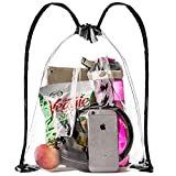 """Clear Drawstring Bag, Small Clear Backpack For Stadiums, Sporting Events - 14"""" x 17"""" (Clear/Black)"""