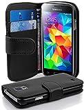 Cadorabo Hülle für Samsung Galaxy S5 Mini / S5 Mini DUOS - Hülle in Oxid SCHWARZ – Handyhülle mit Kartenfach aus struktriertem Kunstleder - Hülle Cover Schutzhülle Etui Tasche Book Klapp Style