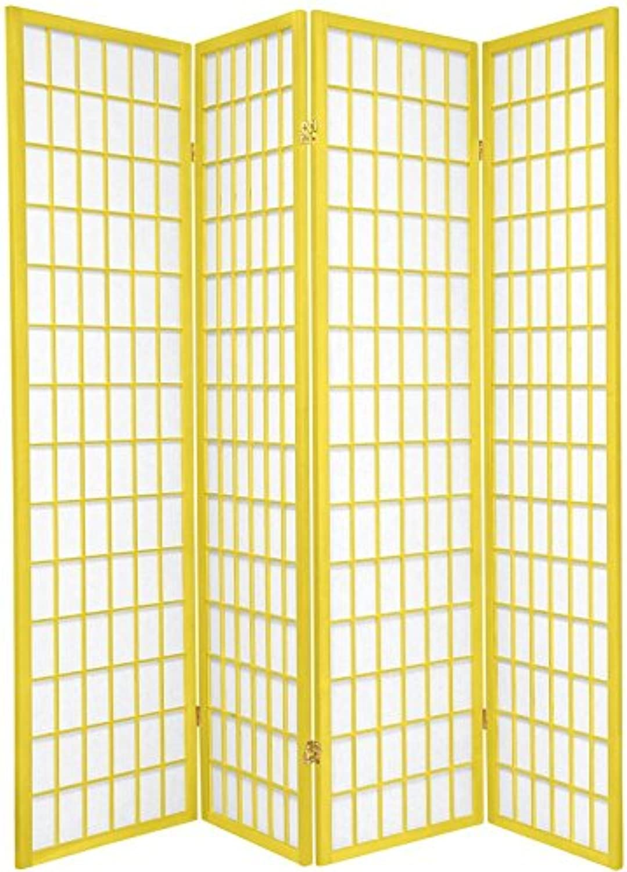 Oriental Furniture 6-Feet Window Pane Japanese Shoji Folding Privacy Screen Room Divider, 4 Panel Yellow