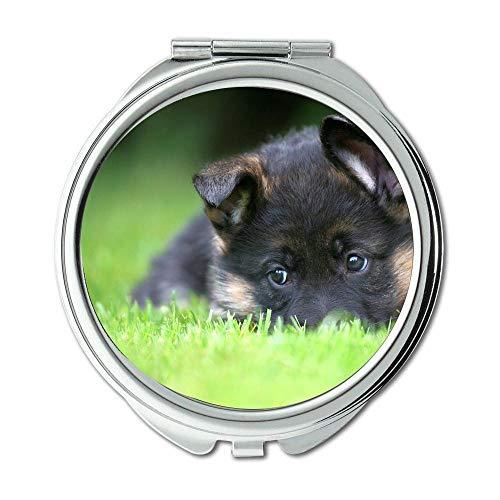 Yanteng Spiegel, Reise-Spiegel, lustiger niedlicher Mops-Hund Deutscher Schäferhund, Taschenspiegel, 1 X 2X Vergrößern