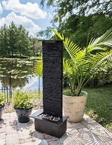 Kenroy Home 51035BLSL Alluvium Indoor/Outdoor Floor Fountain with Light, 48 Inch Height, Natural Black Slate