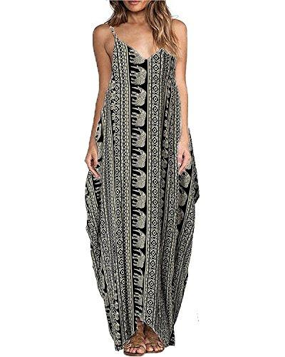 Yidarton Donna Vestito Lungo Senza Maniche Stampa Fiore Maxi Boho Beach Dress (M, elefante)