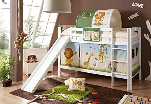 Etagenbett mit Rutsche Doppelbett Lupo Buche massiv Weiss mit Farbauswahl, Vorhangstoff:Safari