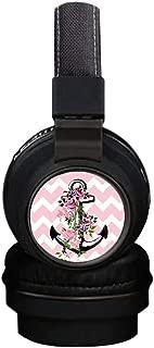 Flower Anchor Wireless Headsets, INmark Bluetooth Headphones with SD Card FM Radio in-line Bluetooth 4.2 Volume Control Microphone, Creative Art on Ear Hi-Fi Stereo Black Earphones